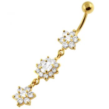 Buy 14G 10mm Yellow Gold Platted Silver Clear Jewel 3 Flower Multi CZ Navel Ring online
