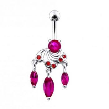 Buy Moving Fancy Jeweled Curved Bar Belly Ring online