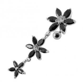 Buy Moving Jeweled Multi Flower Designed SS Curved Banana Bar Belly Ring online