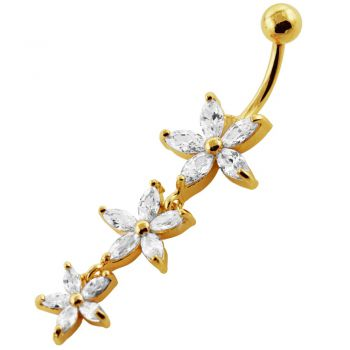 Buy 14G 10mm Yellow Gold Platted Silver Clear Jeweled 3 Dangling Flower Navel Ring online