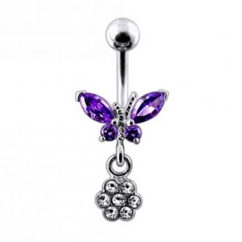 Buy Moving Jeweled Butterfly with Flower Belly Ring online