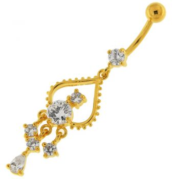 Buy 14G 10mm Yellow Gold Platted Sterling Silver Clear Jewel Banana Bar Navel Ring online