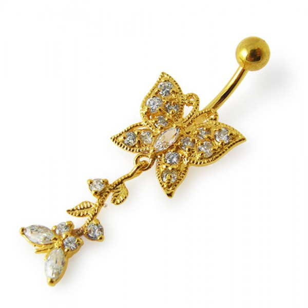Buy 14G 10mm Yellow Gold Platted Sterling Silver Clear Moving Butterfly Navel Ring online