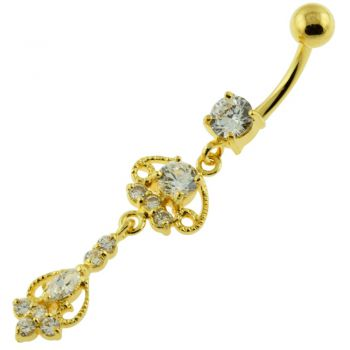 Buy 14G 10mm Yellow Gold Platted 925 Sterling Silver Clear Design Moving Navel Belly Ring online