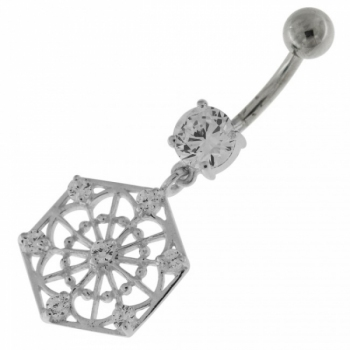 Buy Sterling Silver Jeweled Hexagon Cut out Navel Bar online