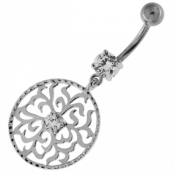 Buy Center Jeweled Grass Leafs Cut out Sterling Silver Navel Bar online