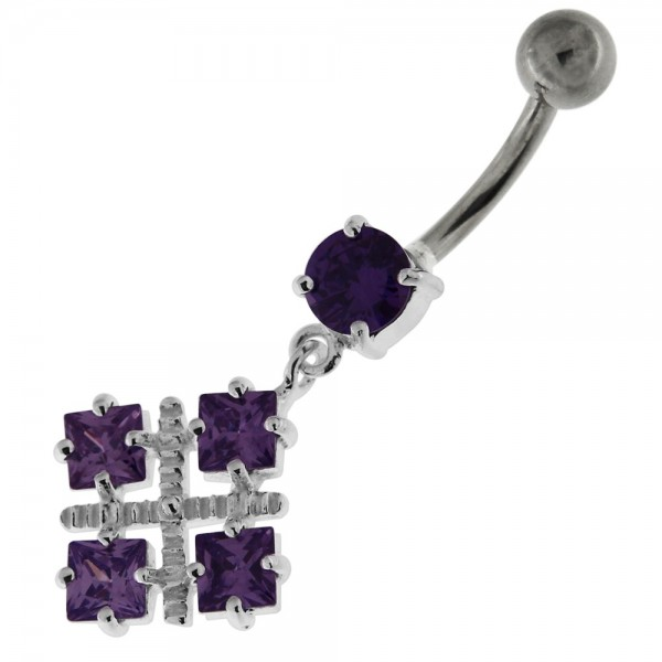 Buy Four Square Jeweled Sterling Silver Navel Bar online