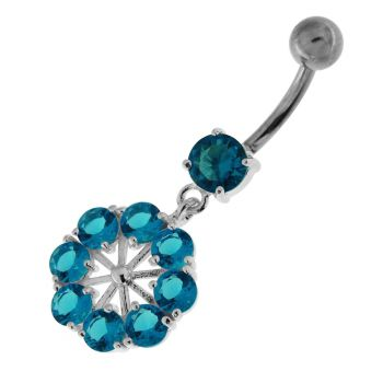 Buy Round Jeweled Flower Sterling Silver Navel Ring online