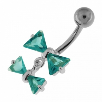 Buy Jeweled Twin Bow Sterling Silver Navel Belly Button Ring online