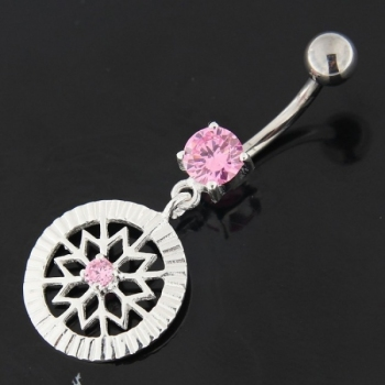 Buy Center Jeweled Flower Sterling Silver Navel Belly Button Ring online