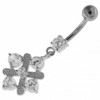 Buy Fancy Jeweled Sterling Silver Navel Belly Button Bar online