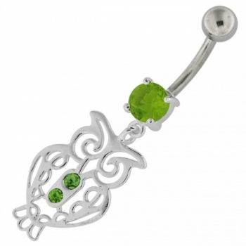 Buy Sterling Silver Jeweled Owl Navel Belly Button Bar online