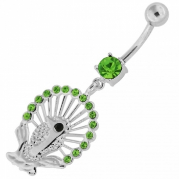 Buy Dangling Multi jeweled Peacock Navel Belly Ring online