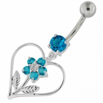 Buy Sterling Silver Jeweled Flower in Heart Navel Belly Button Bar online
