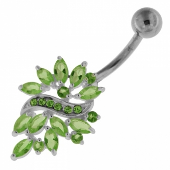 Buy Sterling Silver Multi Jeweled Floral Navel Belly button Piercing online