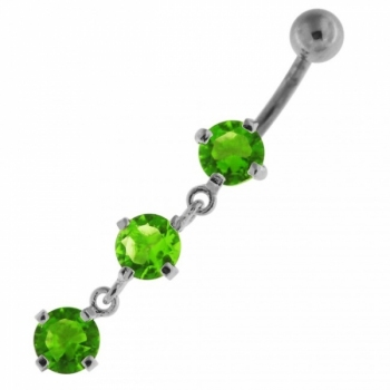 Buy Sterling Silver Dangling Tri Rounds Navel Belly Button Bar online