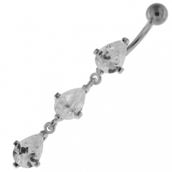Buy Sterling Silver Dangling Tri Drops Navel Belly Button Bar online