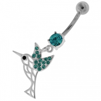 Buy Flying Jeweled Sparrow Cut out Navel Belly Button Ring online