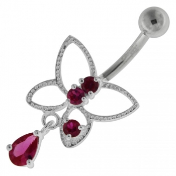 Buy Jeweled Butterfly Cut out Navel Belly Button Ring online