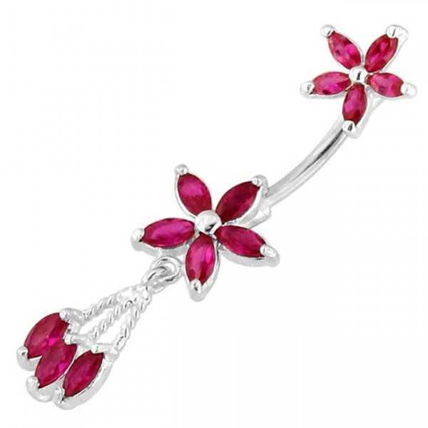 Buy Twin Flower Floral Spinal belly button ring online