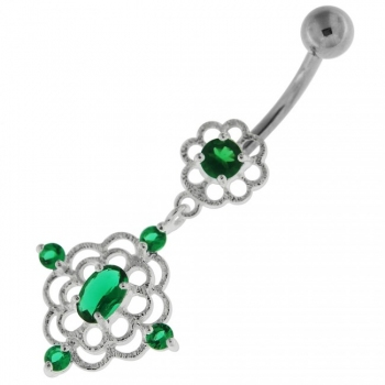 Buy Jeweled Flower Cut out Navel Belly Button Ring online