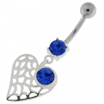 Buy Single Jeweled Web Heart Navel Belly Button Ring online