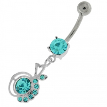 Buy Half Jeweled Half Plain Navel Belly Button Ring online