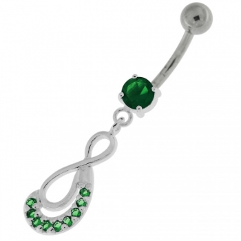 Buy Crescent Nine Stones Jeweled Infinity Navel Belly Button Ring online