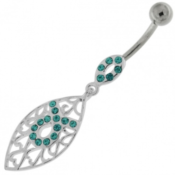 Buy Jeweled Oval Floral Fashion Navel Belly button Ring online
