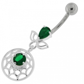 Buy Jeweled Spider Web Dangling Navel Belly Ring online