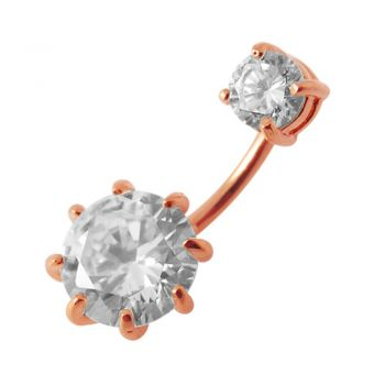 Buy Rose Gold Platted Round Jeweled Spinal navel rings online