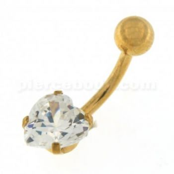 Buy 8mm Jeweled Heart Gold PVD over Surgical Steel Navel Belly Ring online