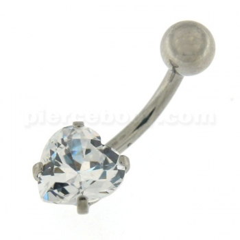 Buy 8mm Jeweled Heart Surgical Steel Navel Belly Ring online