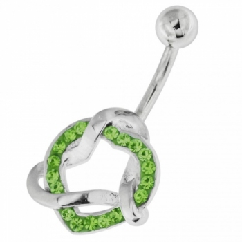 Buy Fancy Jeweled Heart Non-Moving Navel Belly Ring Body Jewelry online