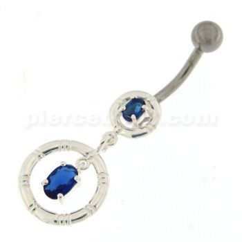 Buy Jeweled Rounder with Stripes Dandling Navel Belly Ring online