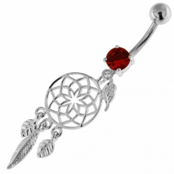 Buy Flower Cut Out With Bird Jewel 925 Sterling Silver Belly Ring online