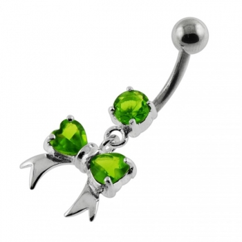 Buy Twin Heart Bow Tie Navel Belly Button Piercing online