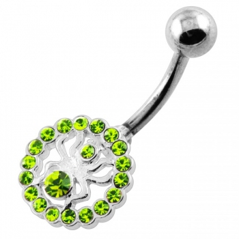 Buy Jeweled Spider in Round Frame Navel Belly Piercing online