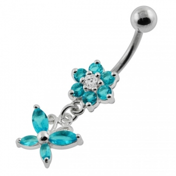 Buy Flower with Dangling butterfly Navel Belly Piercing online