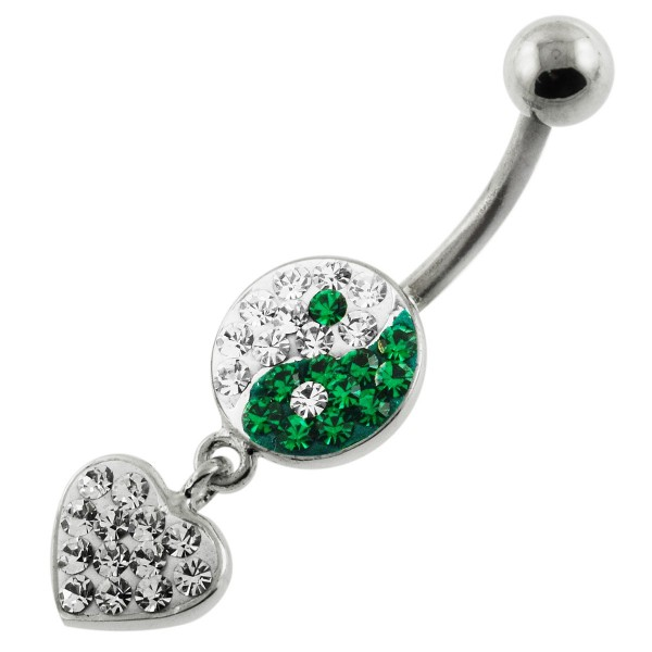 Buy Multi Jeweled Ying Yang with Dangling Heart Navel Belly Piercing online
