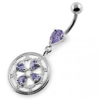 Buy Jeweled Flower and Heart Gear Navel Belly Piercing online