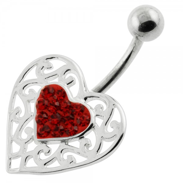Buy Jeweled Heart in a Heart Pattern Navel Ring online