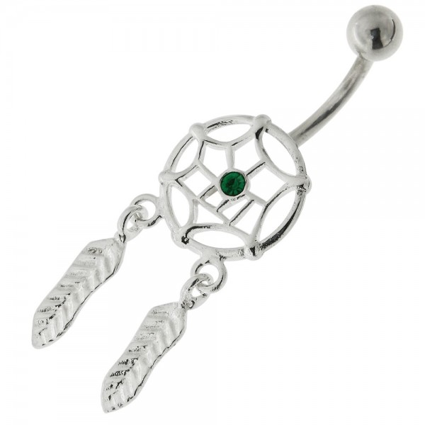Buy Center Jeweled Dream Catcher Sterling Silver Belly Button Ring online
