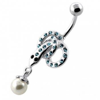 Buy Multi Jeweled Snake with Hanging Ball Navel Belly Ring online