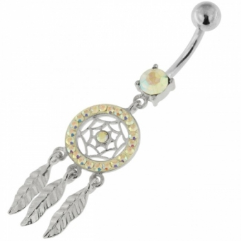 Buy 925 Sterling Silver Multi Jeweled Dream Catcher Navel Belly Bar online