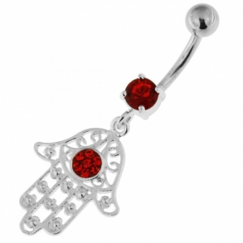 Buy 925 Sterling Silver Floral Fathima Hand Navel Belly Bar online
