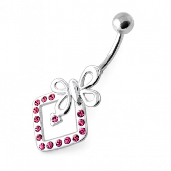 Buy Butterfly Bow in Jeweled Angle Square Navel Bar online