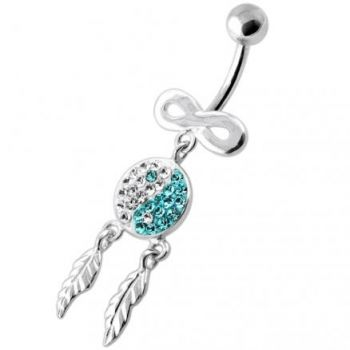 Buy Infinity Ying Yang with Dream Catcher Navel Bar online