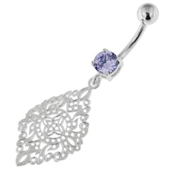 Buy 925 Sterling Silver Marquise shape Tribal Navel Belly Piercing online