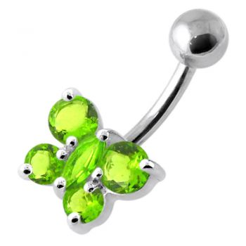 Buy Round Jeweled Butterfly Non Dangling Navel Belly Bar online